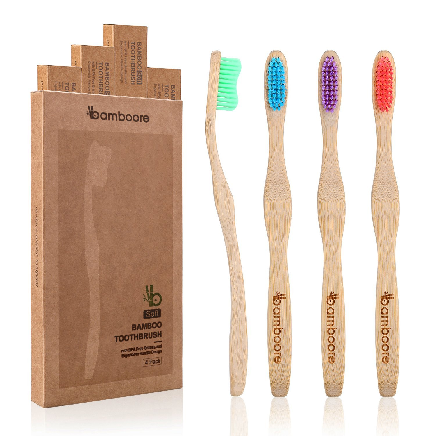 4 pack bamboore bamboo toothbrush